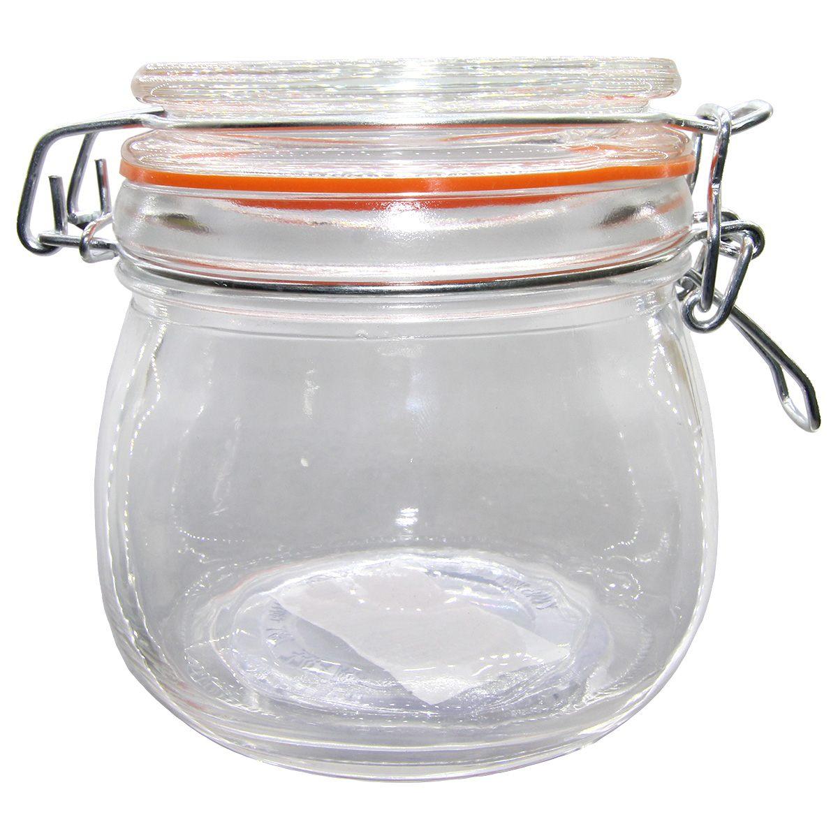 Pote hermético vidro Cancun Color laranja 520ml 11x10cm Lyor