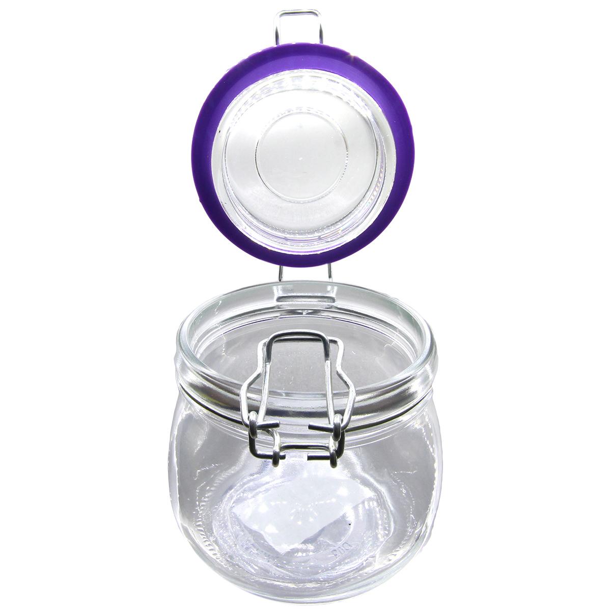 Pote hermético vidro Cancun Color lilás 520ml 11x10cm Lyor