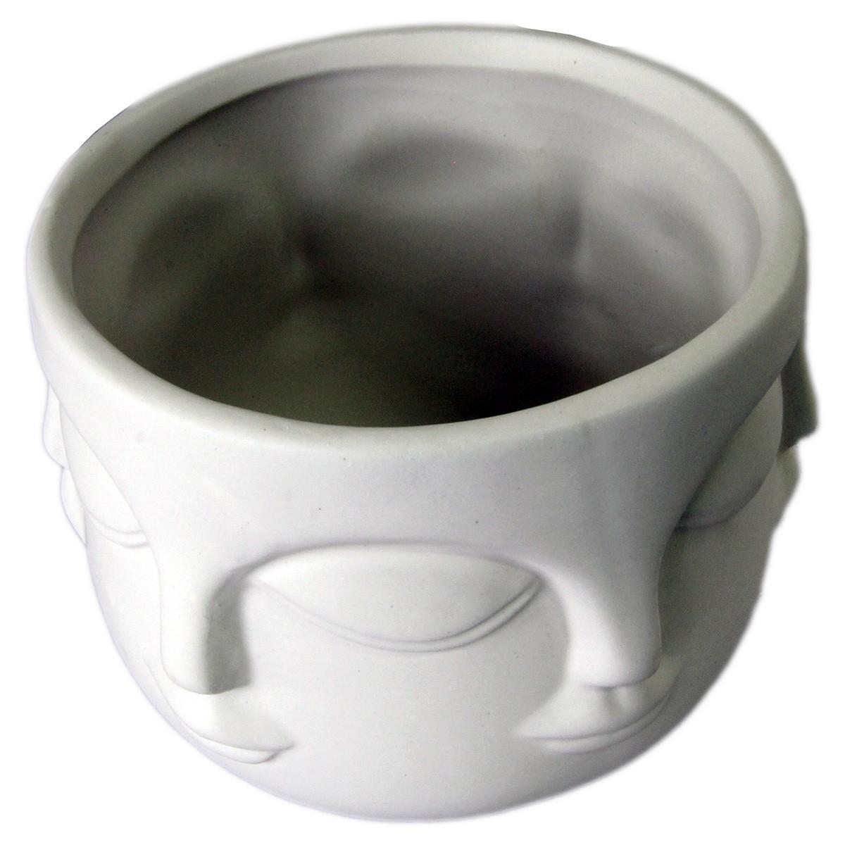 Pote rosto cerâmica branco 12x8,5cm BTC