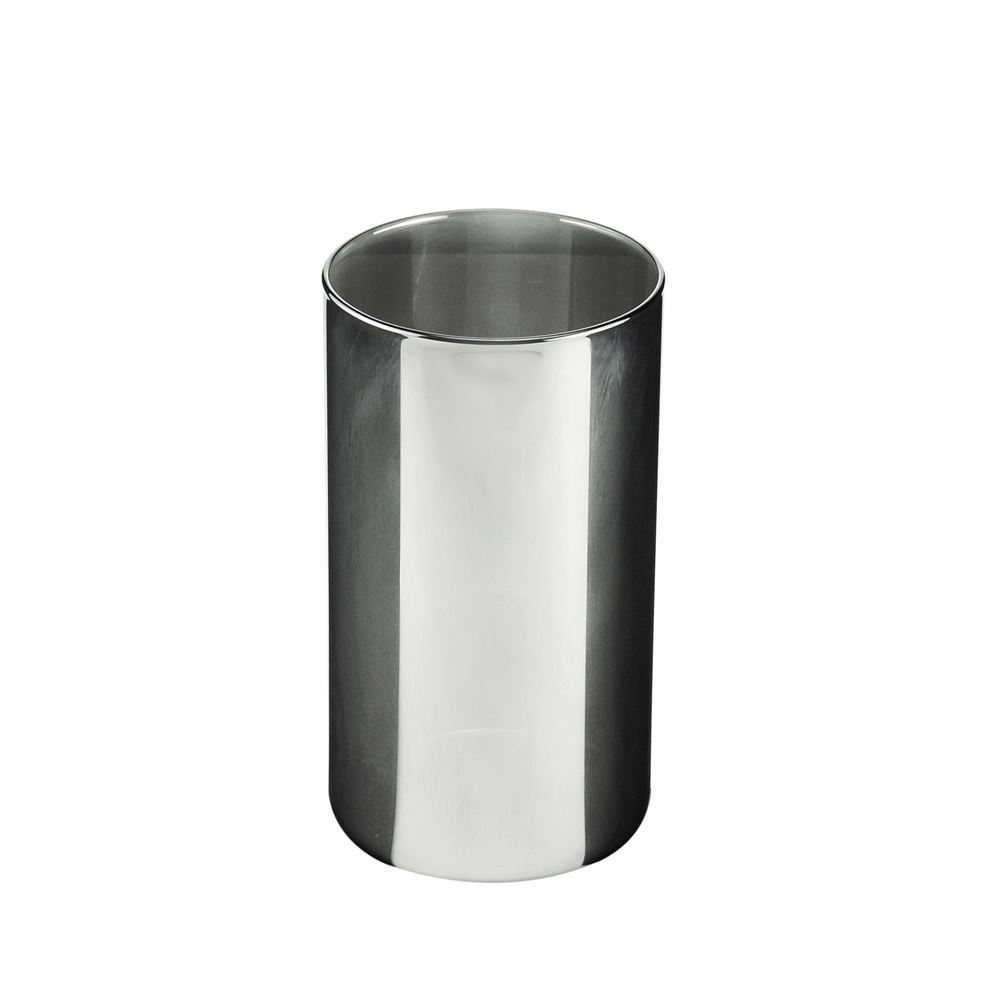 Pote vidro Coffee Clear Cinza tampa madeira 10x18,5cm Urban