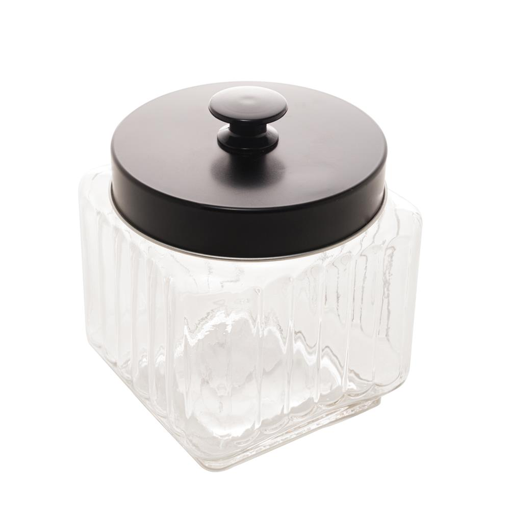 Pote vidro com tampa metal preta 12x12x14cm 1,2l Lyor