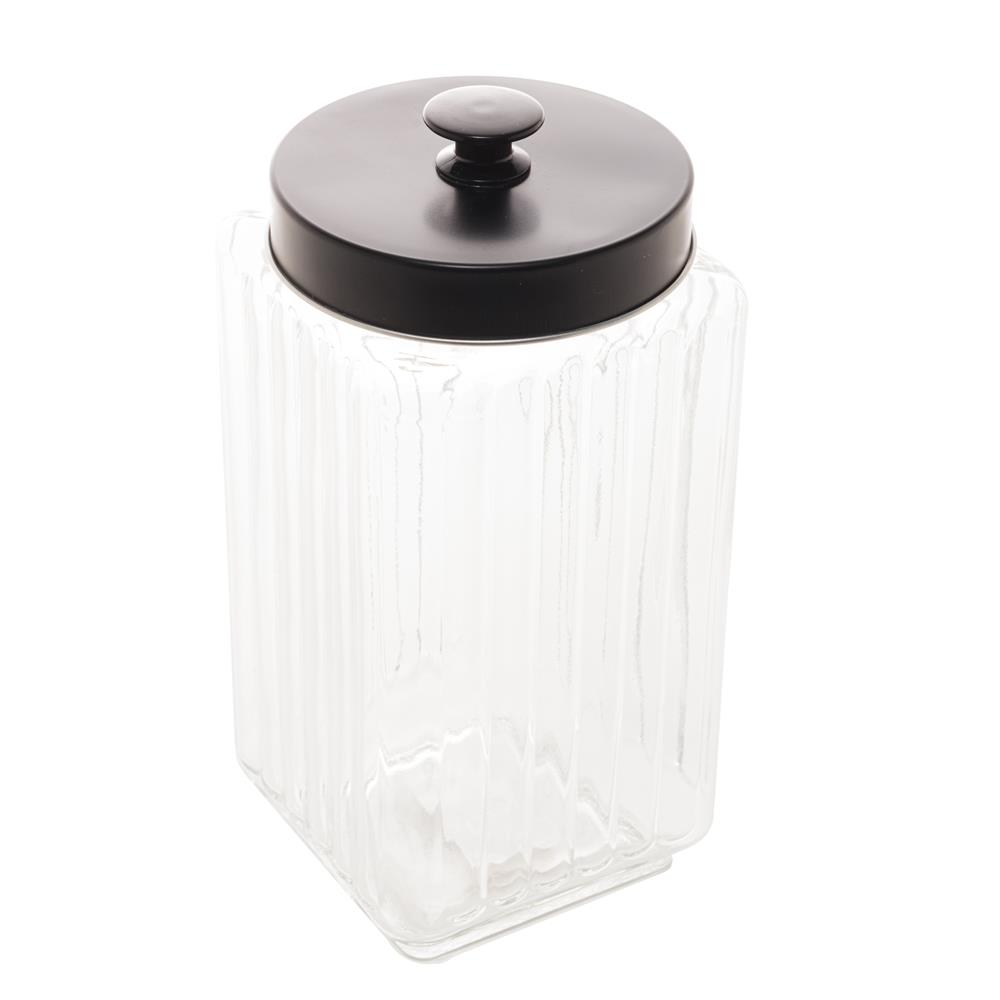 Pote vidro com tampa metal preta 12x12x24cm 2,3L Lyor