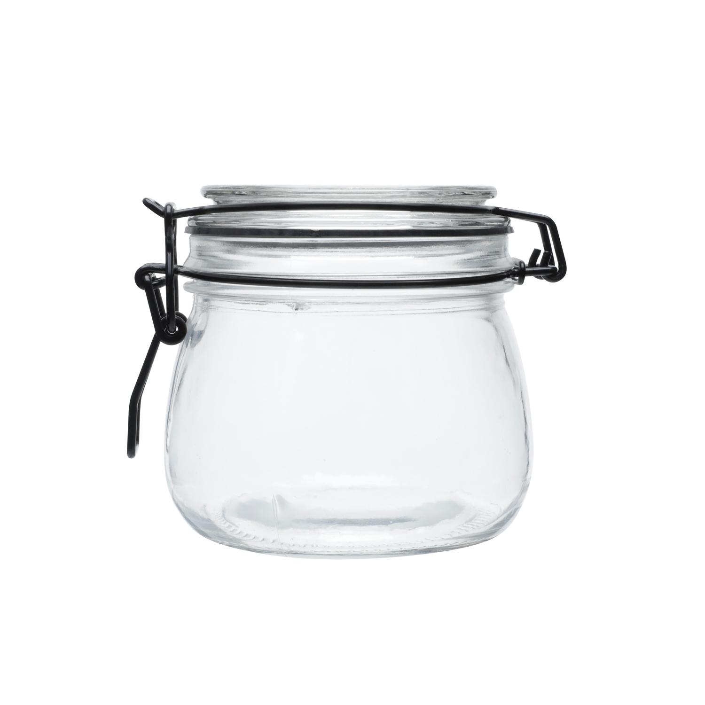 Pote vidro hermético Black Flip preto 10,5x10cm500ml Urban