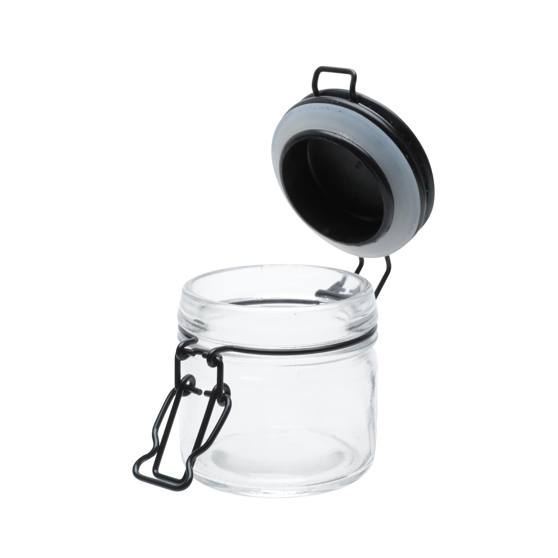 Pote vidro hermético Black Flip preto 6,3x7,5cm120ml Urban