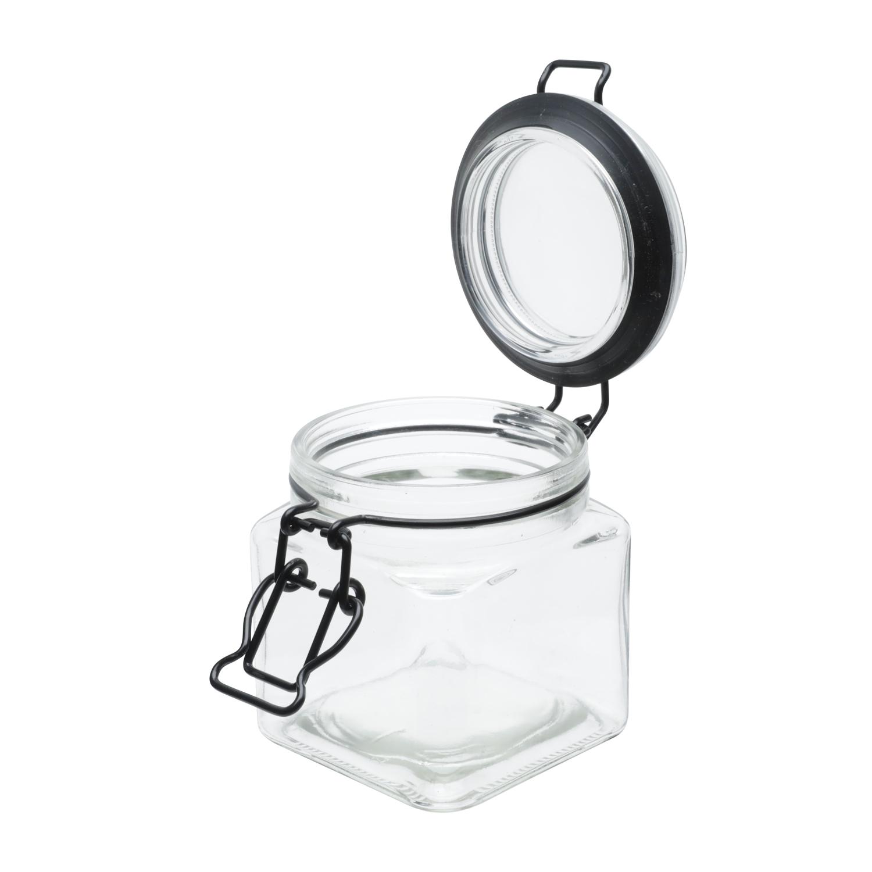 Pote vidro hermético Black Flip preto 8,2x10,2cm 360ml Urban