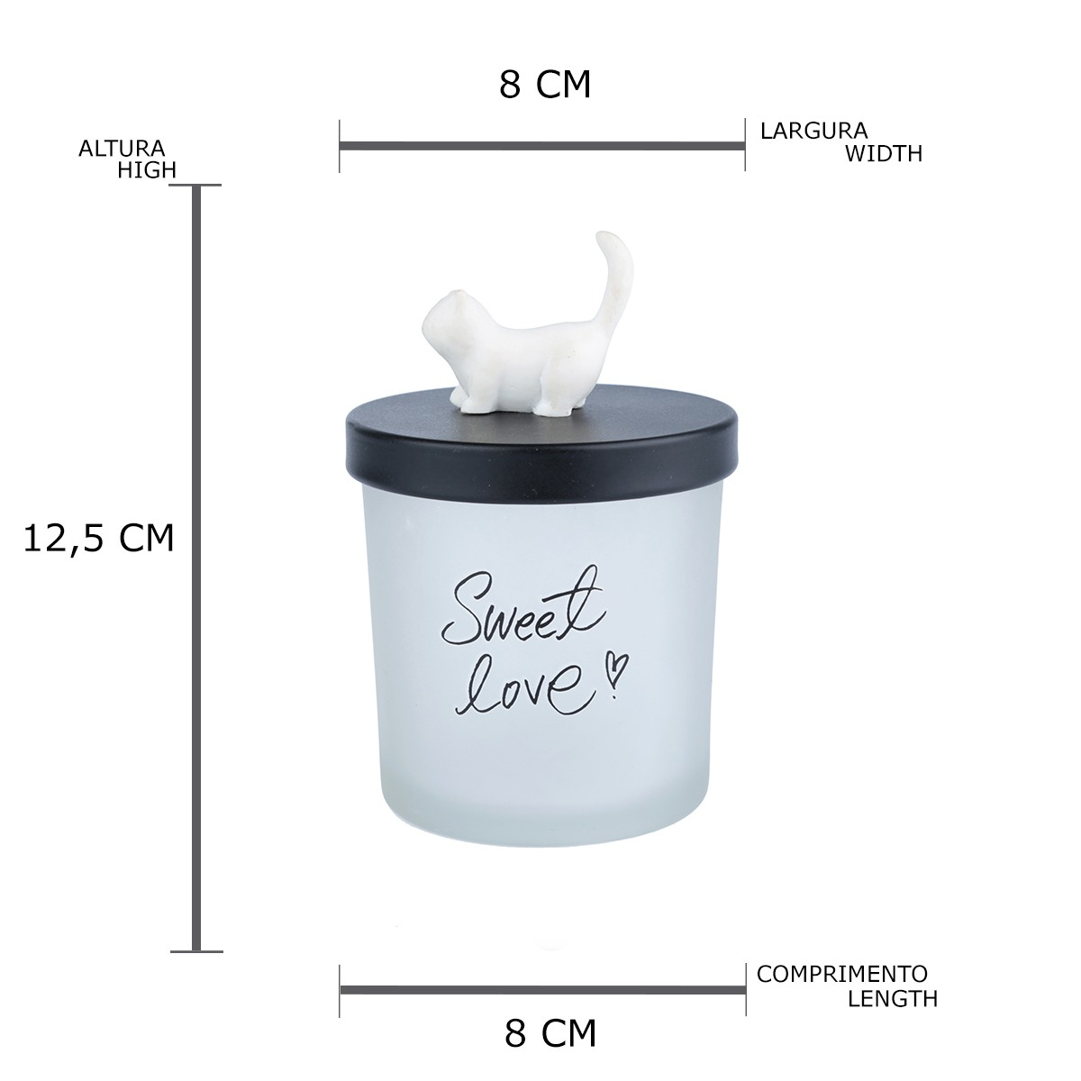 Pote vidro tampa plástica Cute Cat branco 12,5X8cm Urban