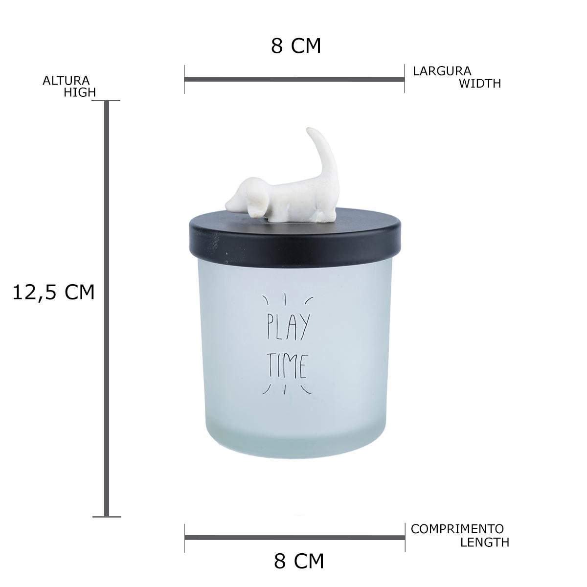 Pote vidro tampa plástica Cute Dog branco 12,5X8cm Urban