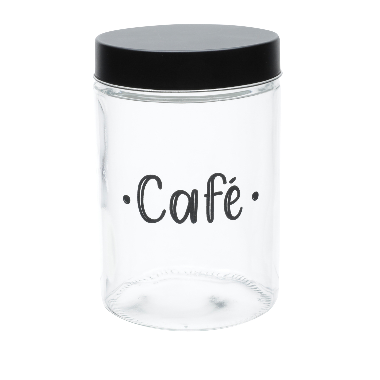 Pote vidro transparente Round Coffee preto 11x17cm1,5L Urban