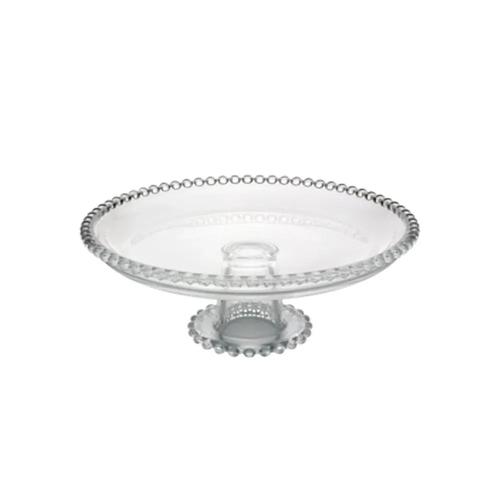 Prato para bolos e doces em cristal Pearl c/ pé 19x9cm Wolff