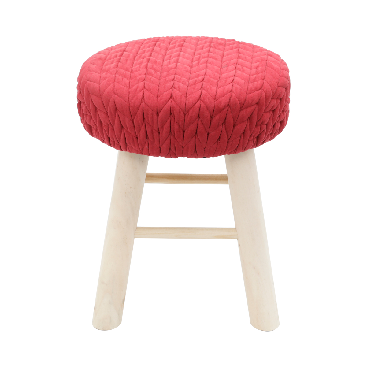 Pufe madeira algodão Crochet Round vinho 30x38x30cm Urban
