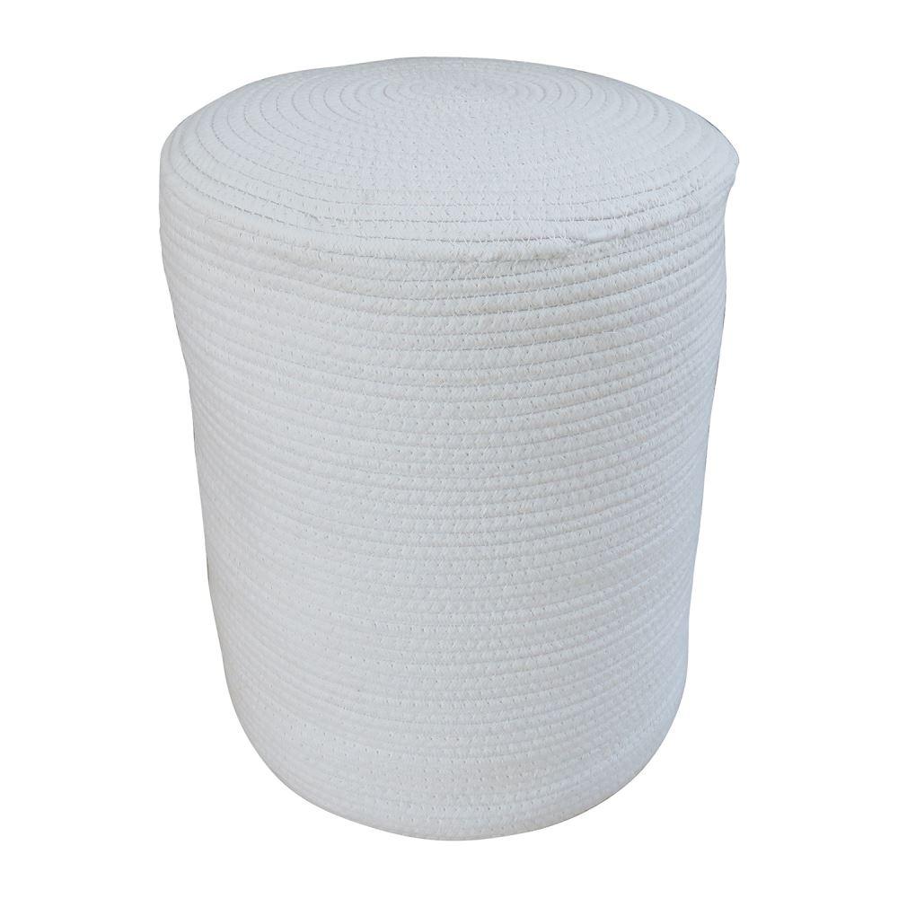Pufe redondo tecido branco 35x45cm BTC