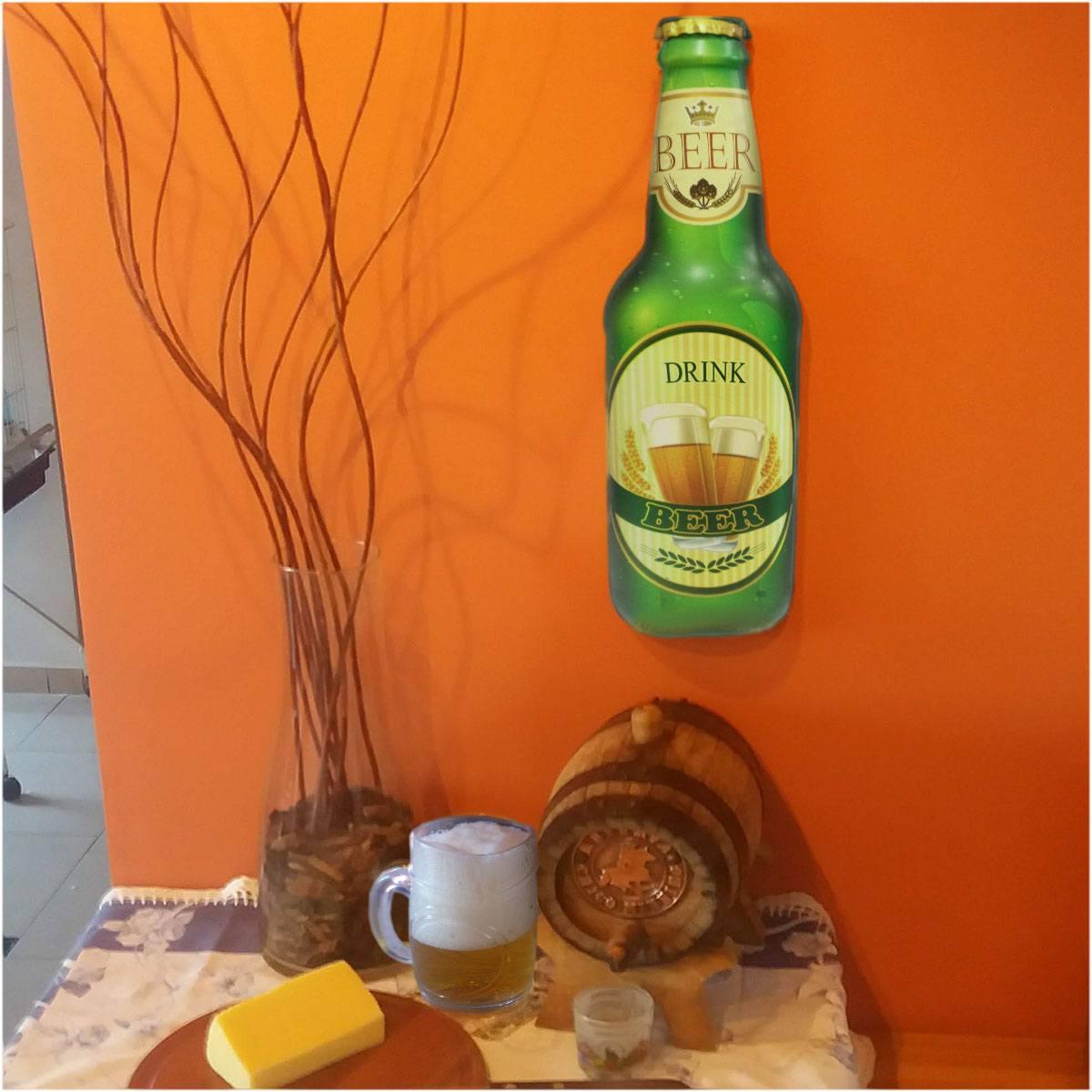 Quadro Garrafa Beer Drink 45 x 13 cm
