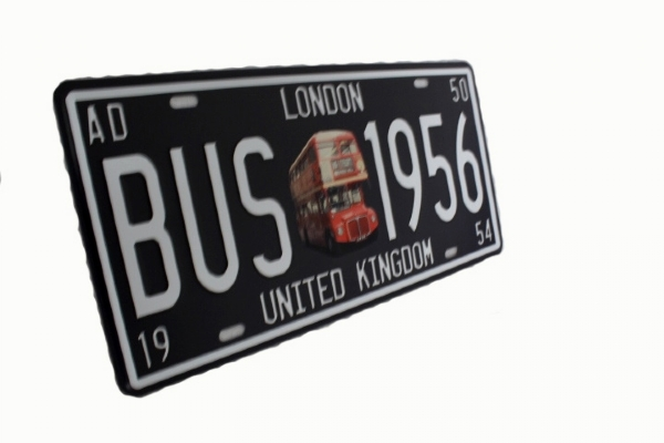 Quadro placa London Bus 31 x 15 cm