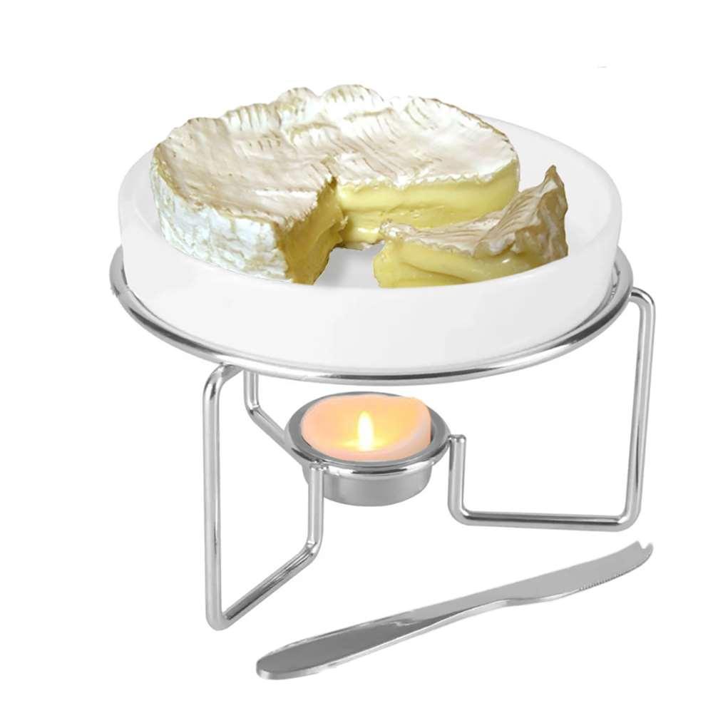Rechaud Queijo Brie Cerâmica c/ Faca Inox e Suporte Cromado