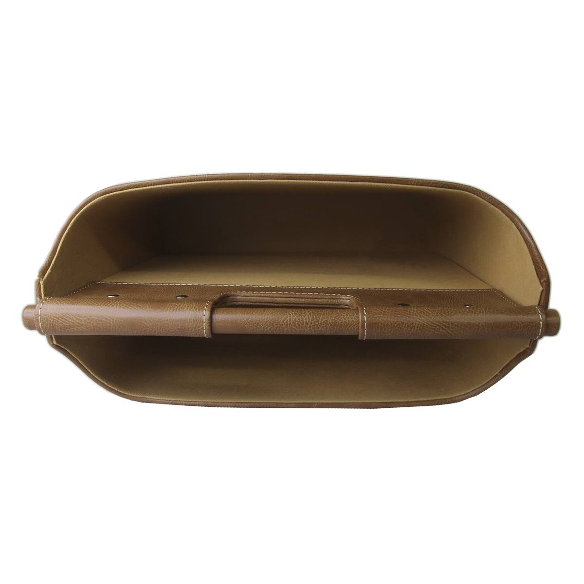 Revisteiro 2 compartimentos em couro marrom 36x28,5x17cm BTC