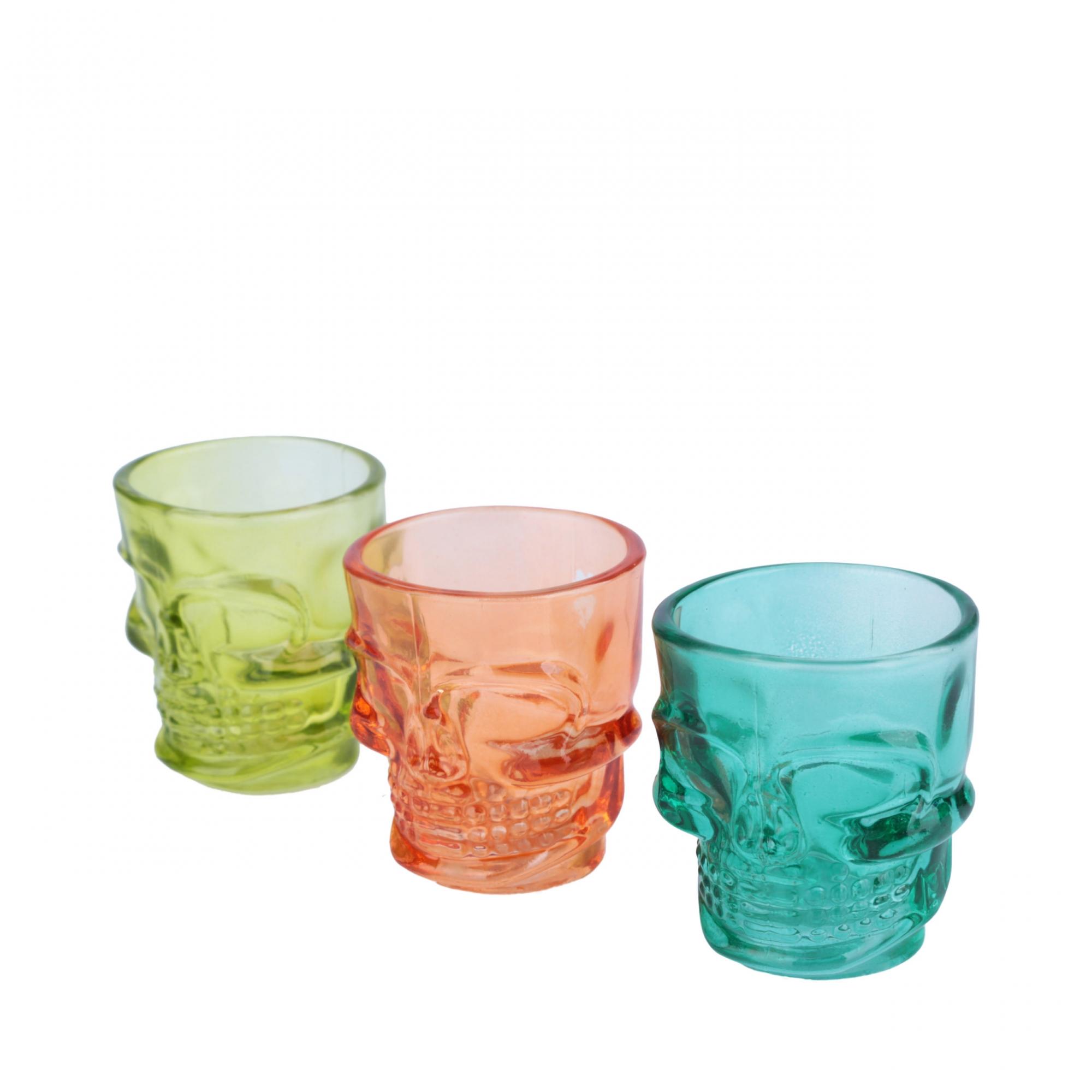 Set 3 copos dose vidro Skull colorido 50ml 8x5,8cm Urban