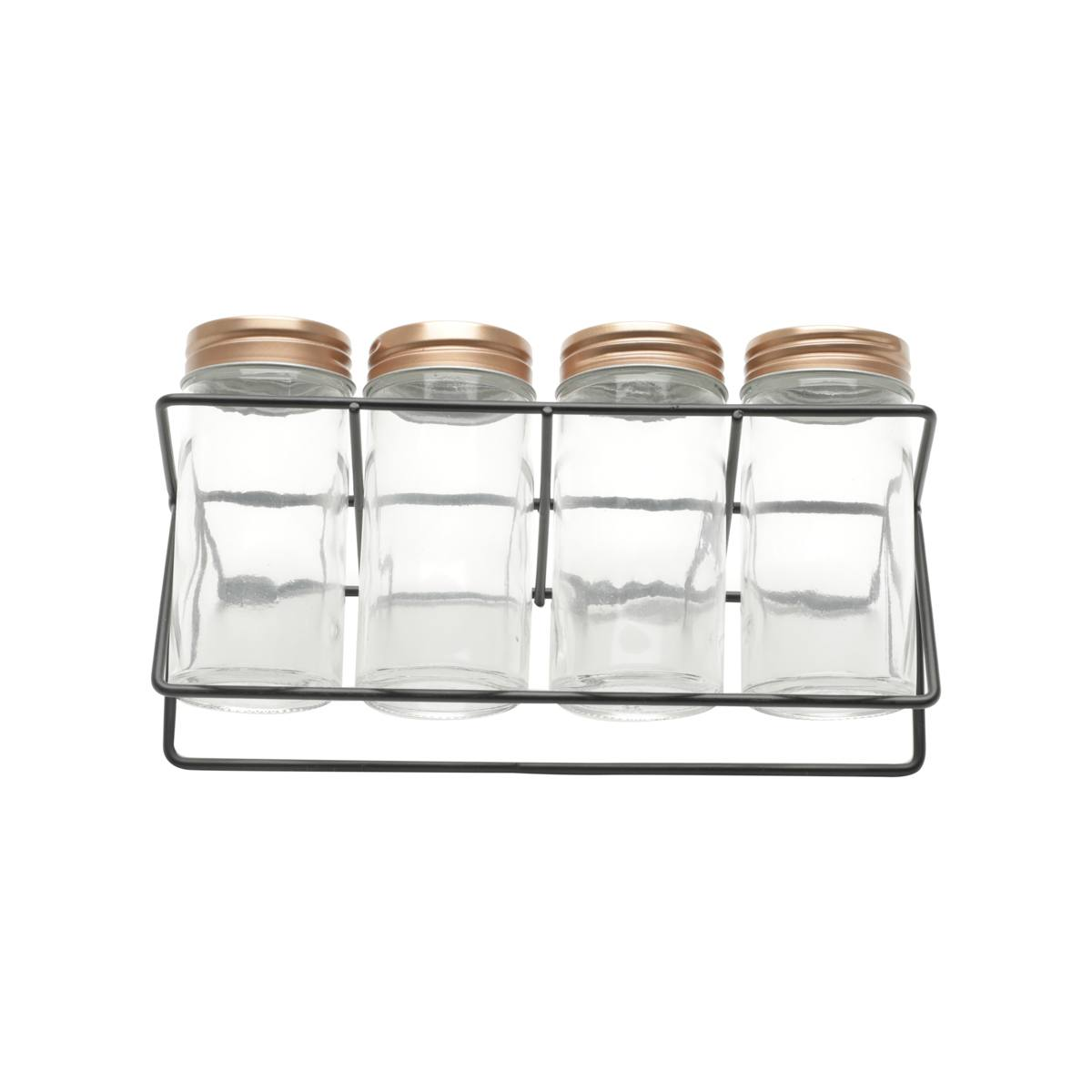 Set 4 porta temperos vidro cobre suporte metal preto Urban