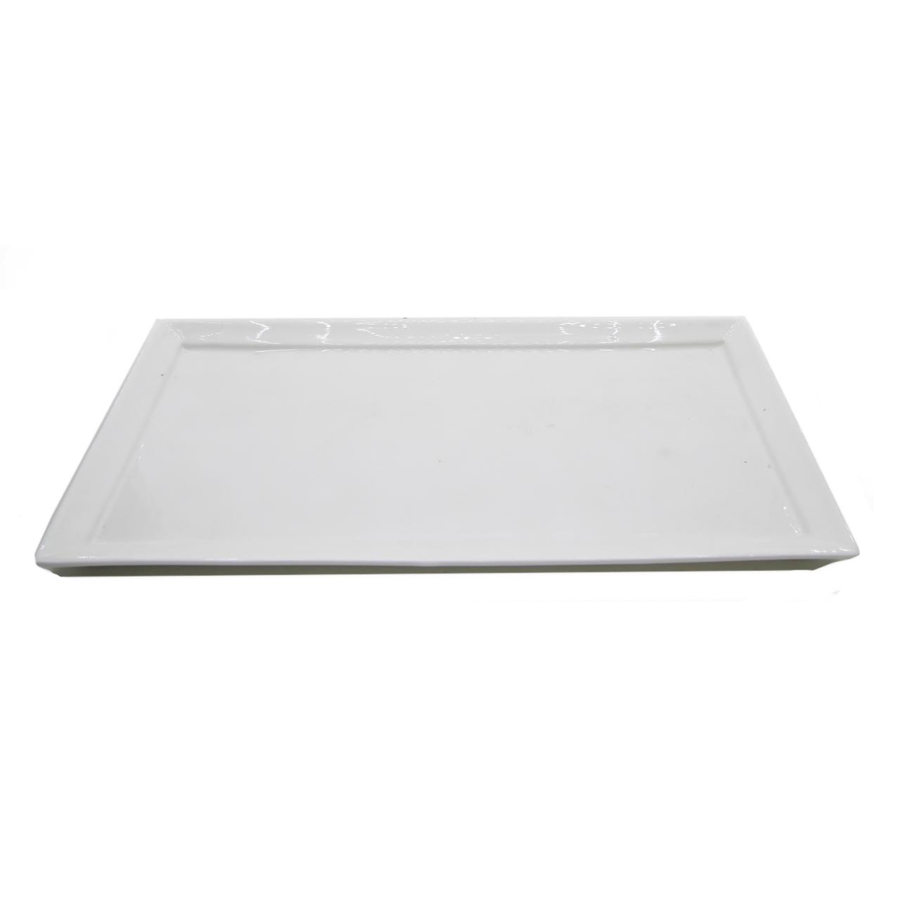 Travessa de Porcelana Branca Retangular 34x16 Bon Gourmet