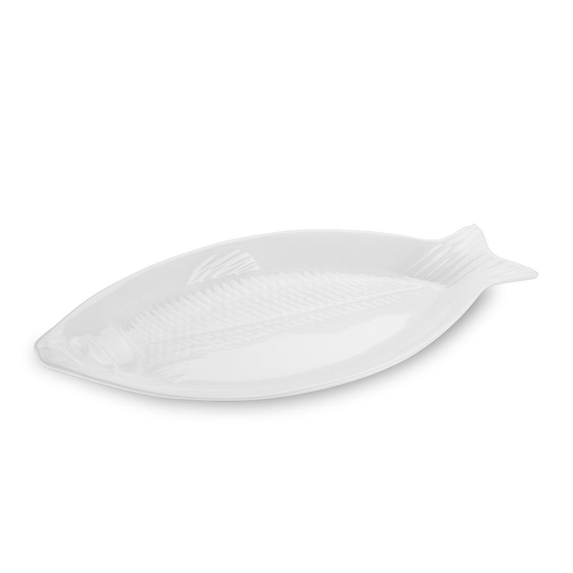 Travessa melamina peixe Texture branca 28x13,5x7 cm Haus Brinox