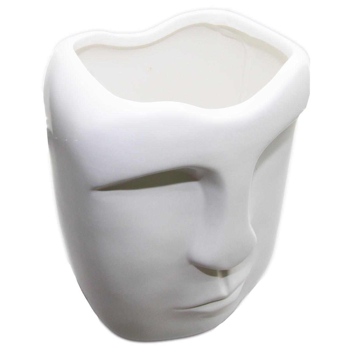 Vaso cerâmica branca Rosto 14x12x19cm BTC