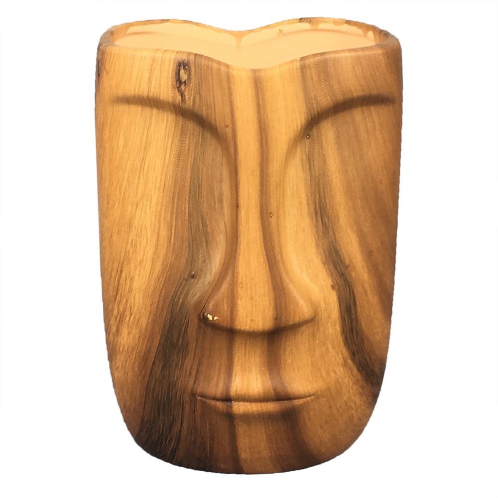 Vaso cerâmica estilo madeira Rosto 13x9x17cm BTC