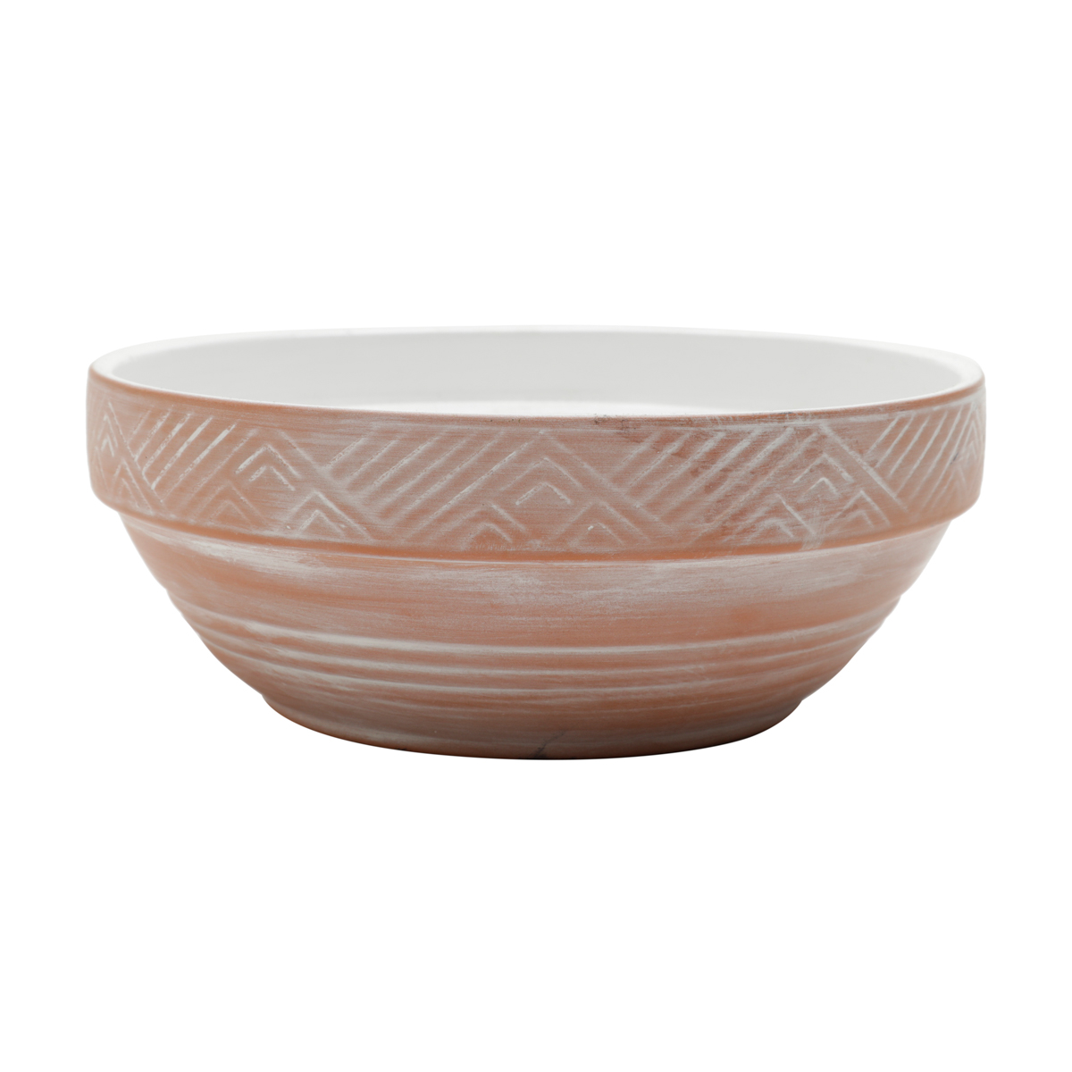 Vaso cerâmica terracota Ethinic Patterns bege e branco 17,5x6,5cm Urban