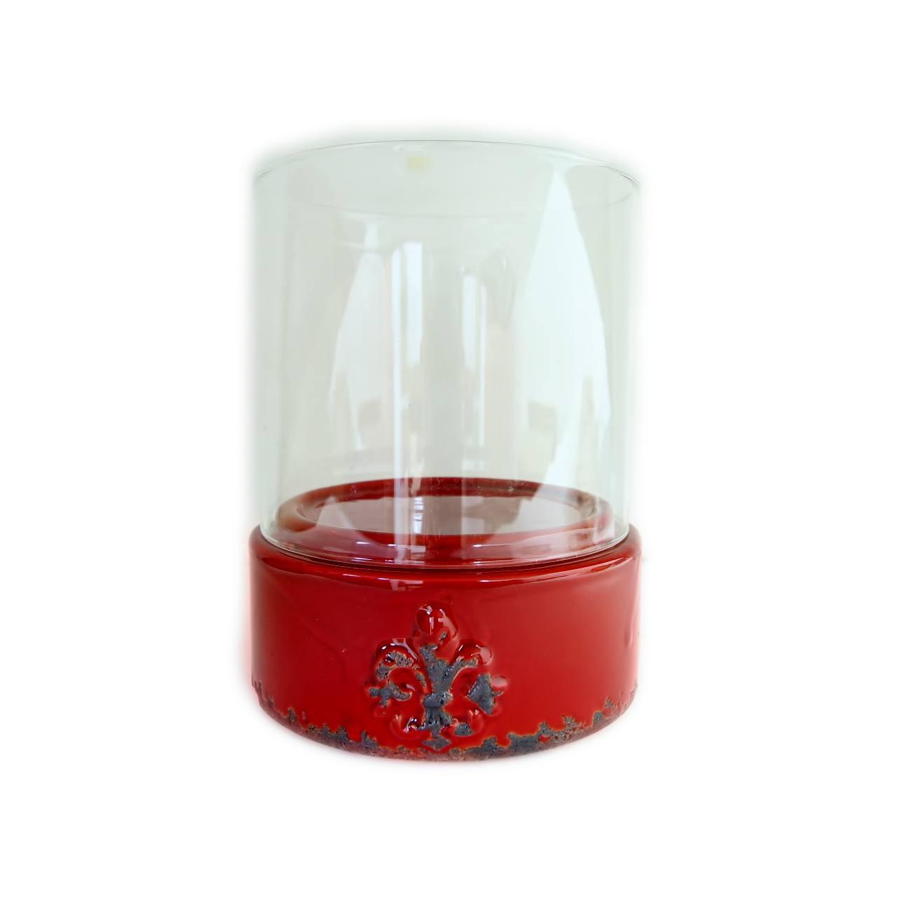Vaso Chengdu Vermelho em Vidro e Cerâmica - 17,5x14 cm