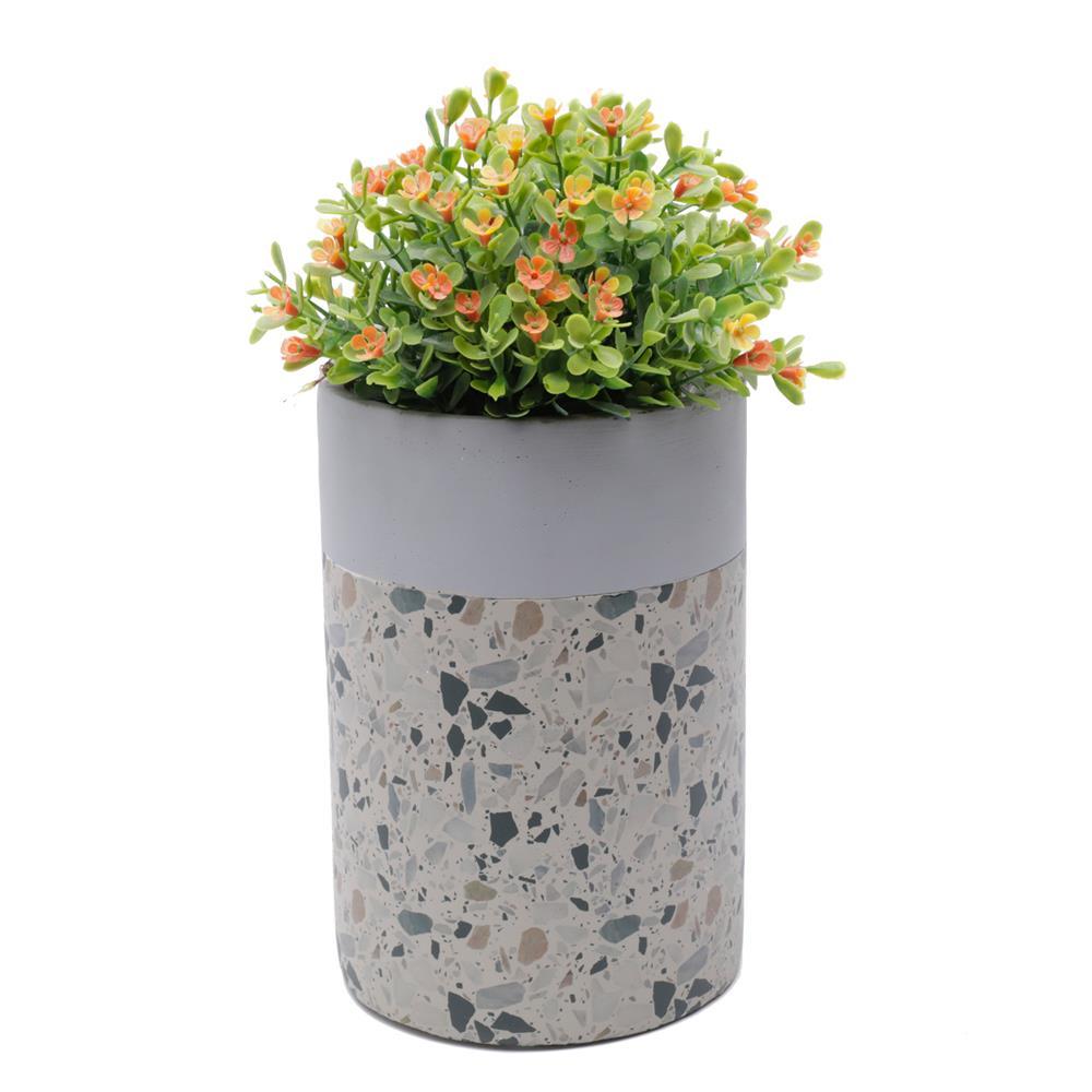 Vaso concreto Granilite Tube Fossil Stardust cinza/bege 12x18cm Urban