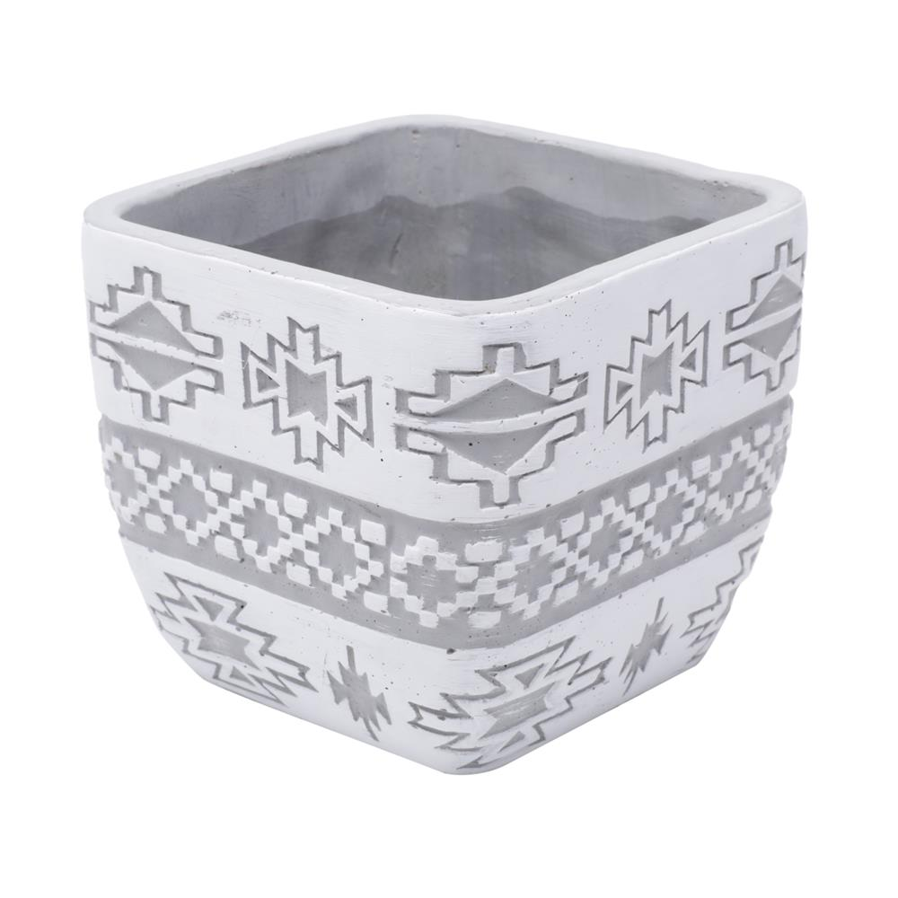 Vaso concreto Square American Tribal Native cinza 12,5x11,3cm Urban