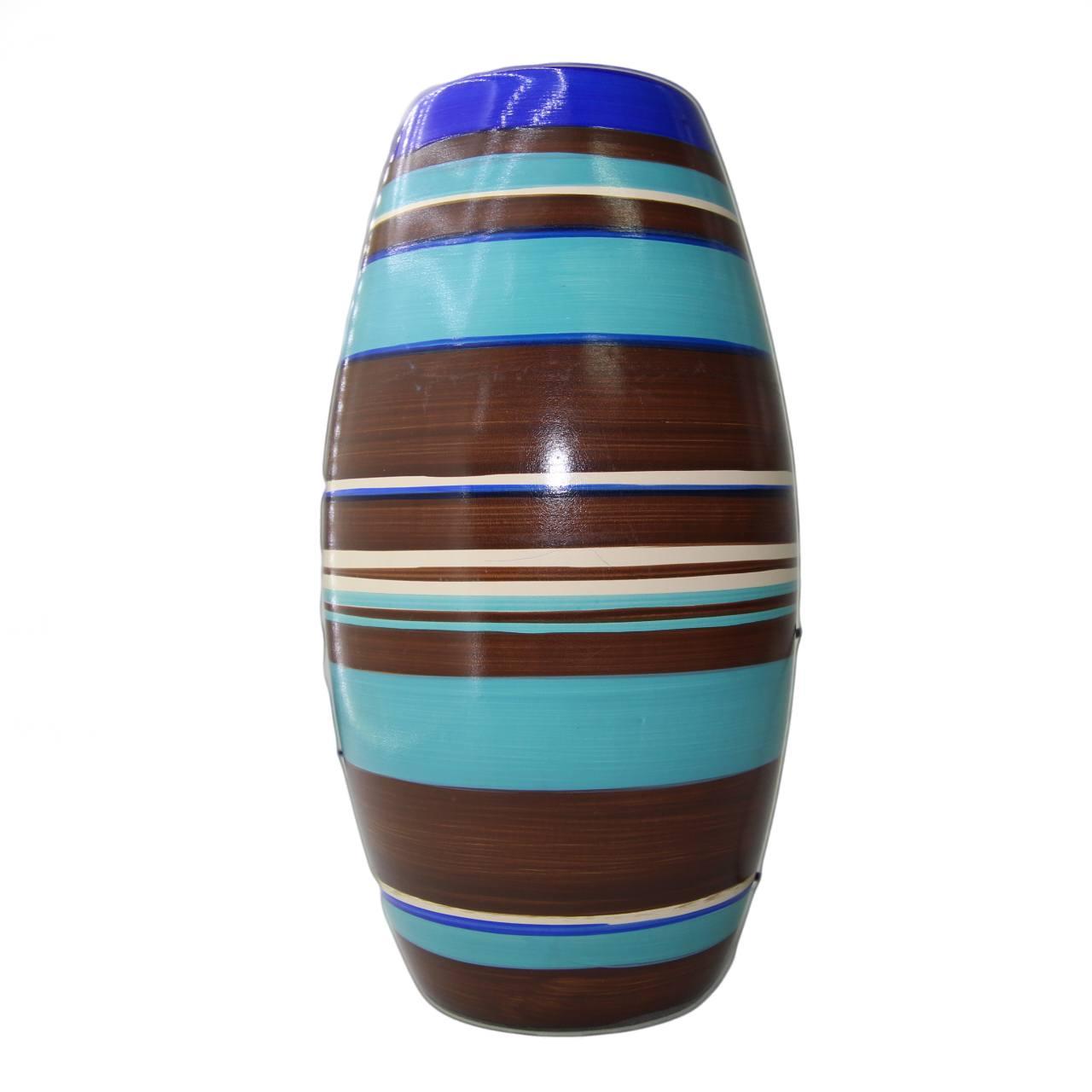Vaso Love Stripes médio marrom/azul 15x28 cm Monte Real