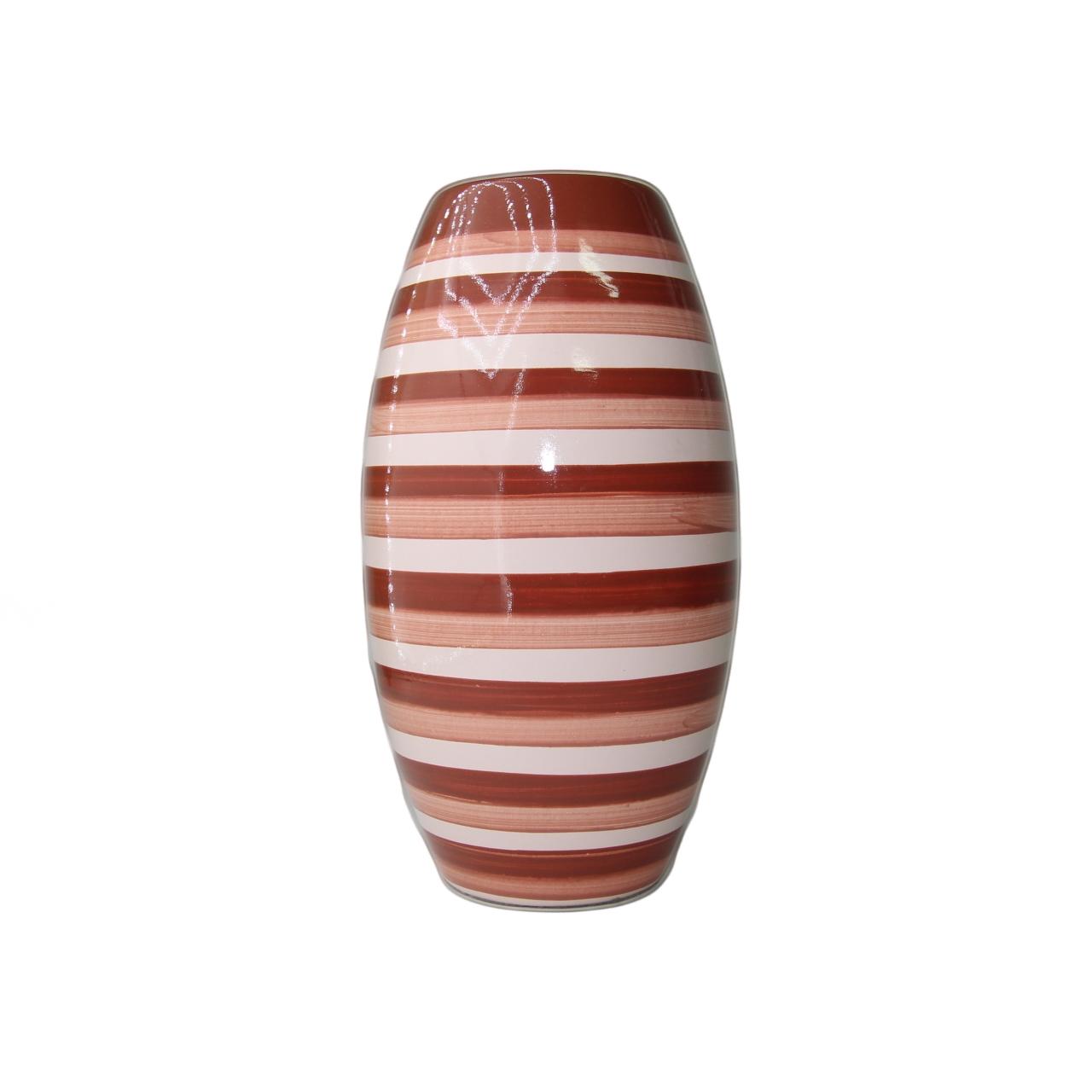 Vaso Love Stripes médio marrom/rosa 16x28 cm Monte Real