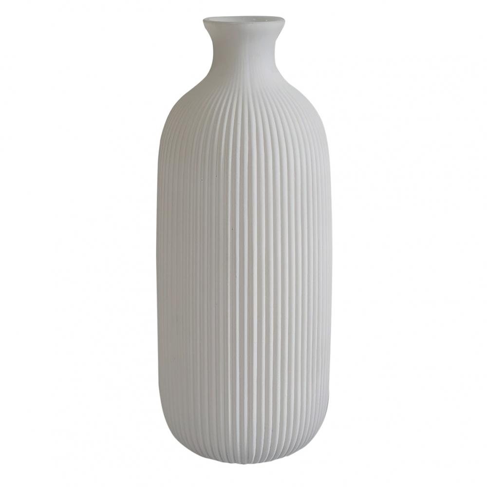 Vaso vidro branco linhas verticais 10,5x30cm BTC