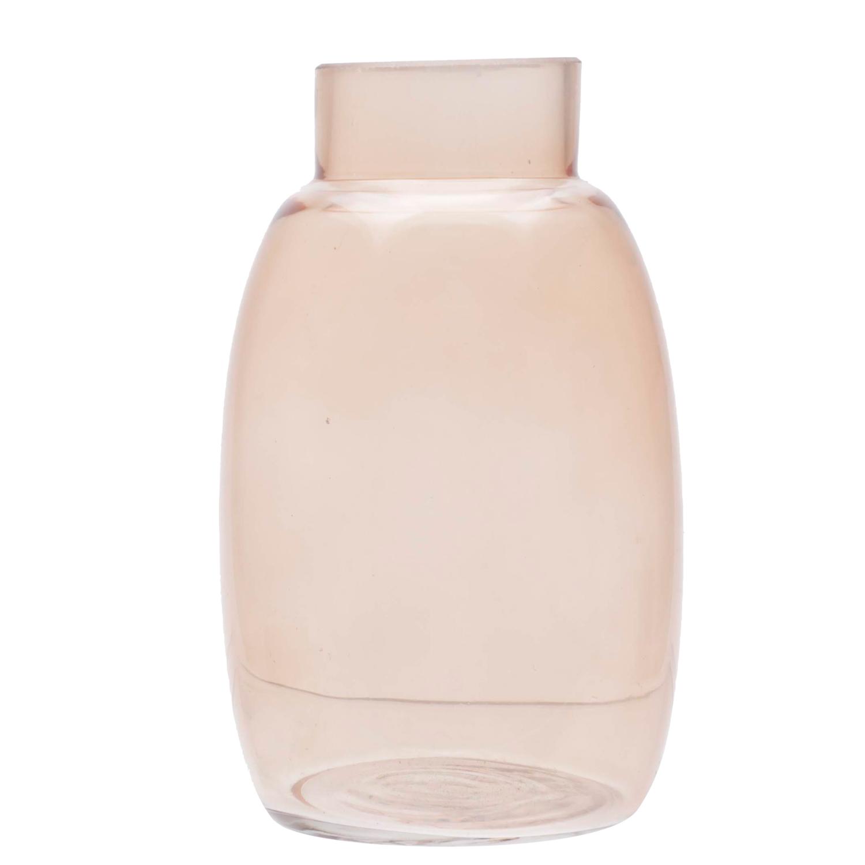 Vaso vidro Neck marrom rosado 9x9x15,5 cm Urban