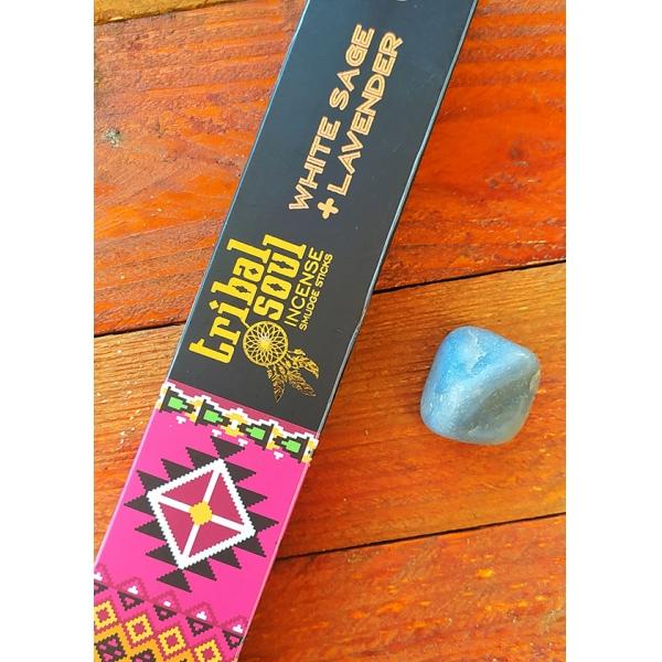 Kit Incenso Tribal Soul + Cristal Angelita Para um bom sono