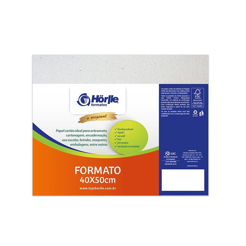 Cartão Cinza H - Medida 40x50cm - Pacote 10un.