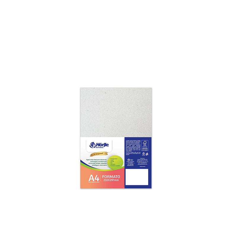 Cartão Cinza H - Medida A4 -  pacote 10un.