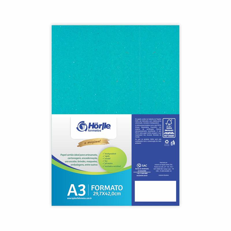 Cartão Color Face - Azul Ciano - Pacote 10un