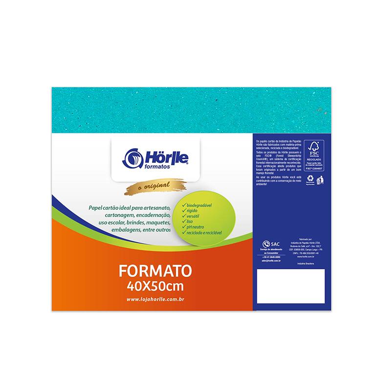 Cartão Color Face -  Dupla Face - Azul Ciano - Pacote 10un