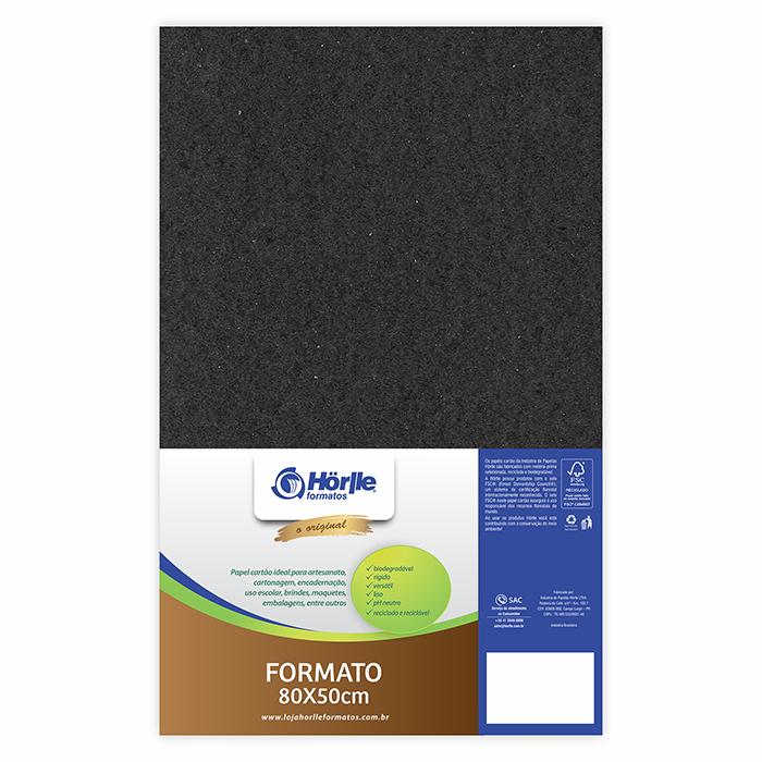 Cartão Preto H - Medida 80x50cm - Pacote 10un