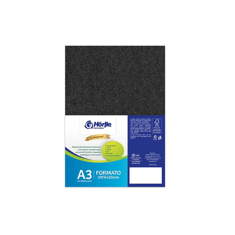 Cartão Preto H - Medida A3 - Pacote 10un