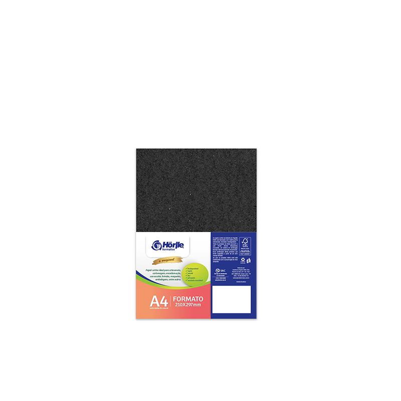 Cartão Preto H - Medida A4 - Pacote 10un