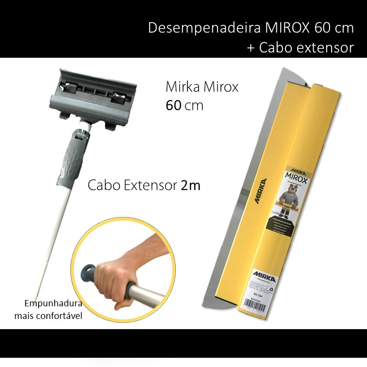 MIRKA KIT DESEMPENADEIRA MIROX 60 CM + CABO EXTENSOR 2 METROS