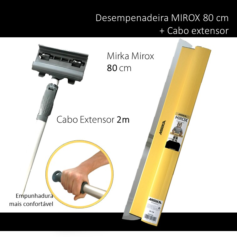 MIRKA KIT DESEMPENADEIRA MIROX 80 CM + CABO EXTENSOR 2 METROS