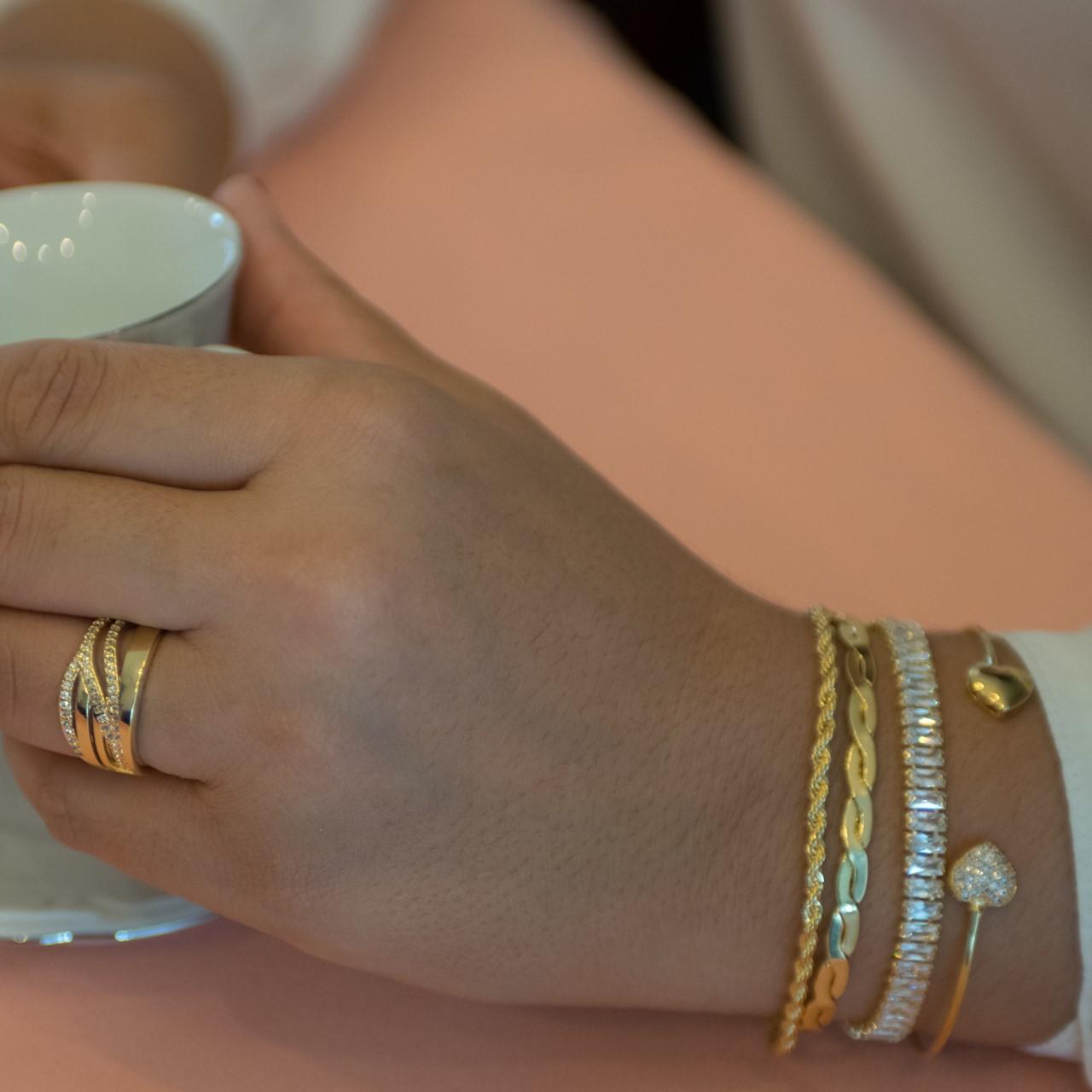 Bracelete Coração Duplo Banhado em Ouro 18K