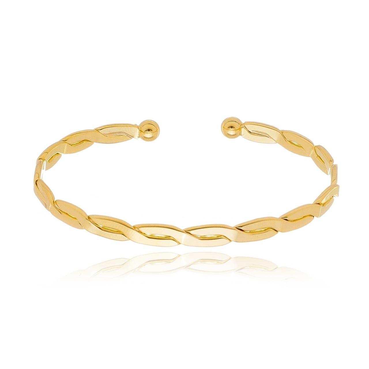 Bracelete Trançado Banhado em Ouro 18K