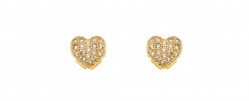 Brinco Coração Pequeno Cravejado com Zircônia Banhado em Ouro 18k