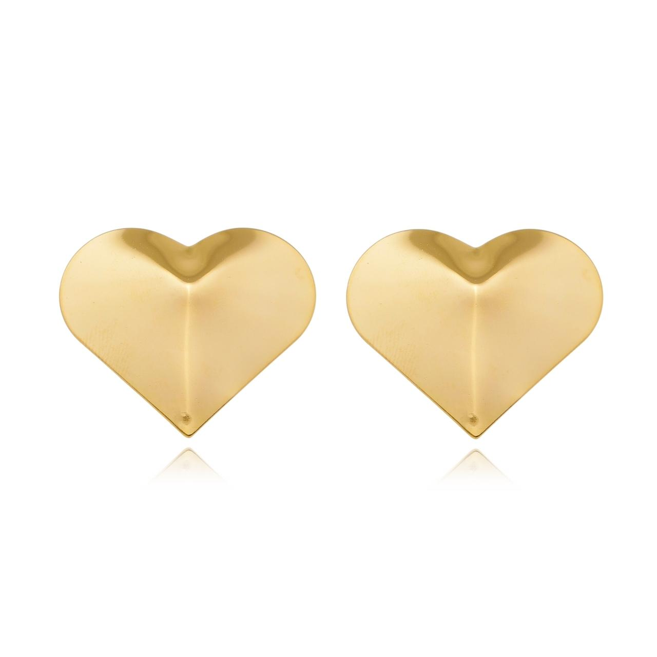 Brinco de Coração Chapado Banhado em Ouro 18K