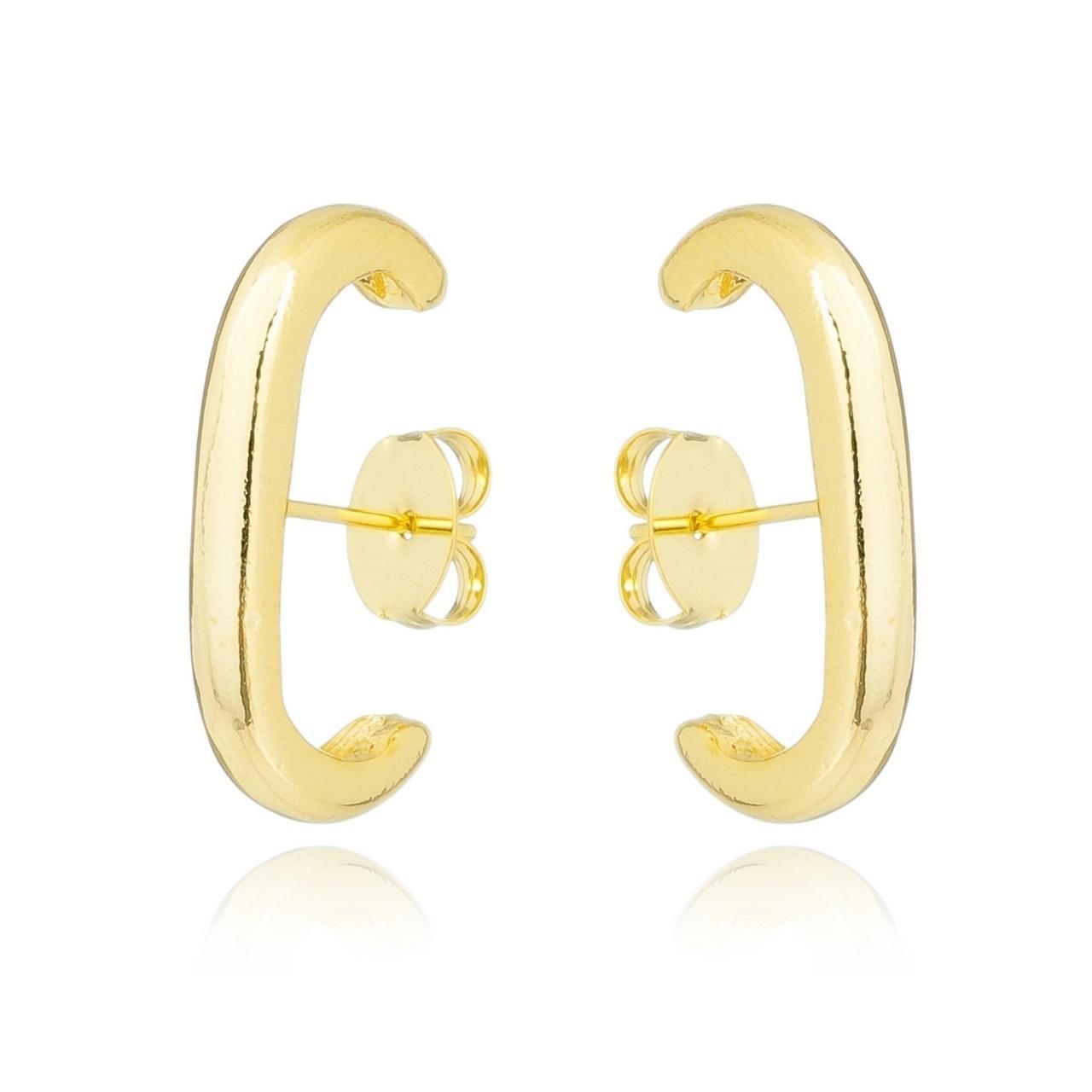 Brinco Ear Hook Liso Banhado em Ouro 18K