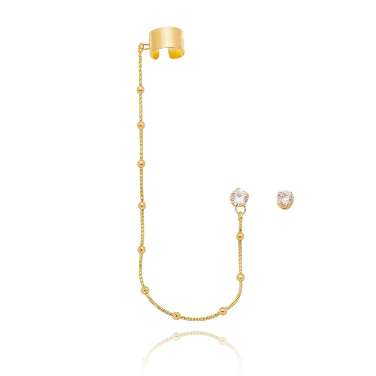 Brinco Ponto de Luz com Ear Line de Bolinhas Banhado em Ouro 18K