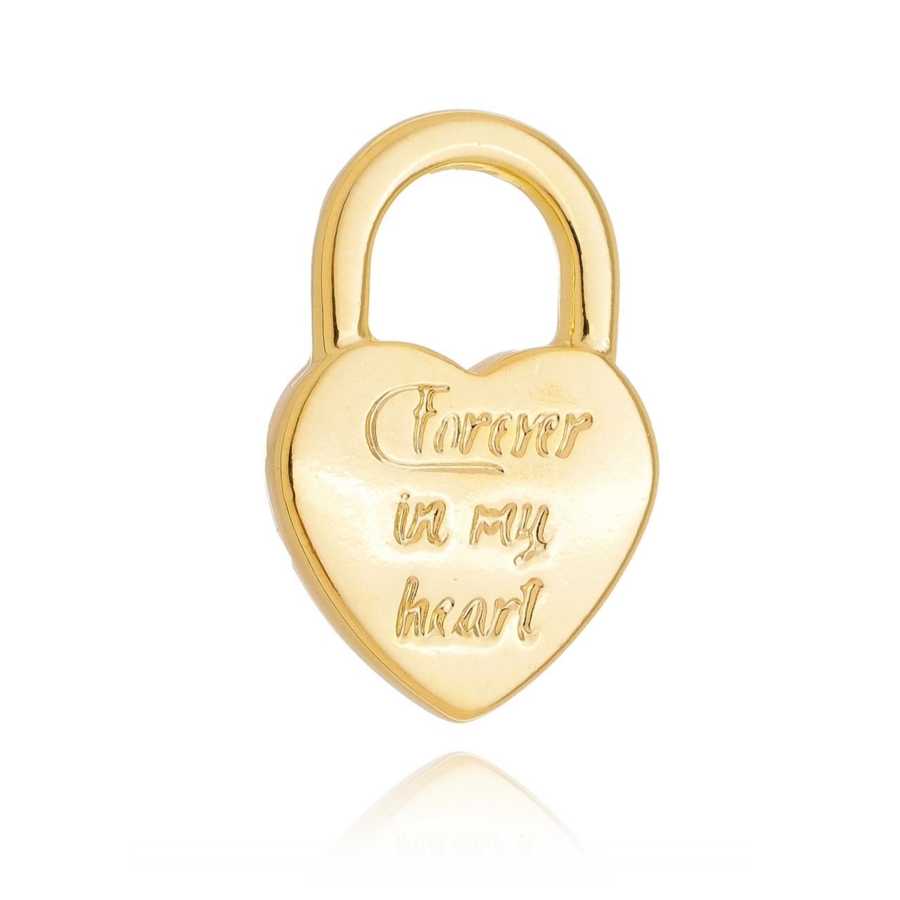 Colar Elos com Pingente Cadeado Coração Banhado em Ouro 18K